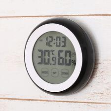Digital LCD Clock Indoor Temperature Humidity Meter Thermometer Hygrometer Black