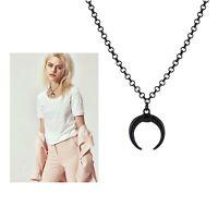 Black Crescent Moon Pendant Chain Fashion Jewellery Necklace Men Woman Gift UK
