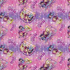 "1 yard Springs Nelvana  ""Little Charmers Girls"" Badge Toss Fabric"