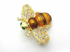 Blue Bumble Bee Pin Enamel Bright Brooch Crystals New Women