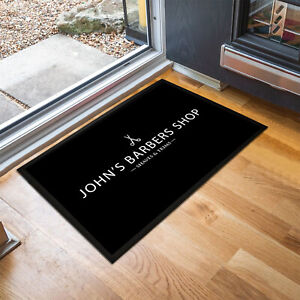 Personalised Black & white Barbers Shop any name Door mat 60 x 40cm room mat