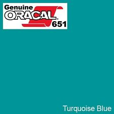 """ORACAL 651 Turquoise Blue Vinyl Wrap Film 12"""" x 10ft Roll Solvent-Based Adhesive"""