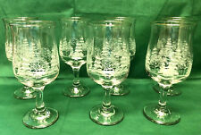 """Vintage Set of 7 Arby's Etched Winter Scene Gold Rims 7"""" Tall Tulip Water Glass"""
