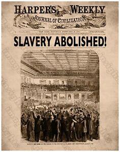 13th AMENDMENT HARPER'S SLAVERY ABOLISHED1865 Restored Engraving RP/Poster 11x14