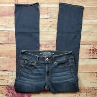 American Eagle Kick Boot Jeans Womens Size 8 Long Dark Wash Mid Rise Stretch