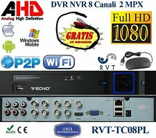 DVR 8 Canali AHD CH +  P2P CLOUD PROFESSIONALE FULL HD IBRIDO 5 IN 1 NVR WIFI