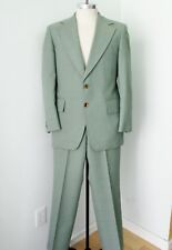 Vtg 70s SUPERFLY Green Plaid Polyester Disco Pimp 2-Pc Suit Wide Lapel 38
