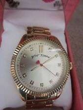 BETSEY JOHNSON Champagne Dial Gold Tone & Crystal Embellished Case Watch NWB