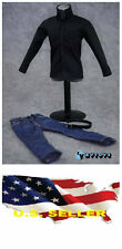 "❶❶*NEW* 1/6 clothes for 12"" Figure black long sleeve shirt blue Jeans USA❶❶"