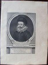SCEVOLE DE STE MARTHE.... A Paris , Desrochers. Portrait. Gravure originale 18 è