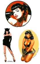 BETTIE PAGE #BettiePage KITTY CAT #PinUp Queen  3 VINYL Car STICKER/Decal SET