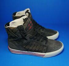 Supra Men's Sneakers Muska 001 High Sky Top Basketball Skater Dk Gray-Blk Sz8.5