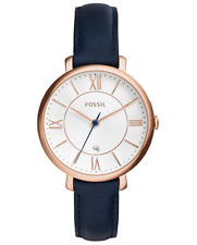 FOSSIL Womens Adult Quartz Watch with Navy Leather Strap - 8431242873138