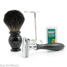 100% BLACK HAIR BADGER BRUSH WITH STEEL STAND DE SAFETY RAZOR WITH BLACK HANDLE