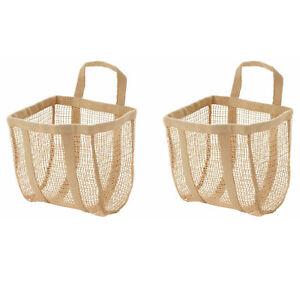 2x New Ikea LUSTIGKURRE Basket Natural Jute Storage Organiser Hanging 25x20x33cm