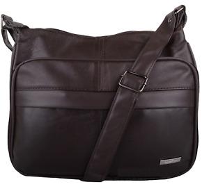 Lorenz Womens Nappa Leather Cross Body/Shoulder Multi Pocket Handbag in Brown