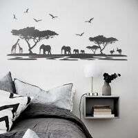 African Animals Tree Removable Art Wall Sticker Home Living Room Mural DIY  US