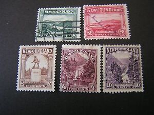 NEWFOUNDLAND, SCOTT # 131-134(4)+139, TOTAL 5 1923-24 PICTORIALS ISSUE USED