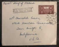 1949 Cork Ireland First Day Cover FDC To San Diego Ca USA 2 1/2p