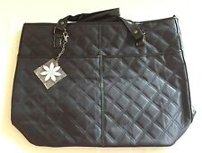 Mary Kay Black Quilted Tote Bag With Pink & Rhinestone Daisy Charm