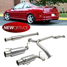 """Fit 98-02 Accord V6 3.0L 4"""" Tip Stainless Steel Full Catback System Dual Exhaust"""