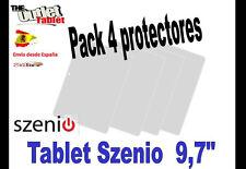 "**Pack 4 Protectores de pantalla para SZENIO 97 9,7"" IPS ALCAMPO CARREFOUR EROSK"