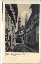 Goslar Harz Postkarte ~1920/30 Partie in der Bergstraße Blick zur Markt Kirche