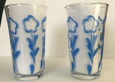 SET 2 VINTAGE JUICE GLASSES CLEAR w/ BLUE DAISY FLOWERS FLUTED BEAUTIFUL