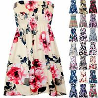 Plus Size Ladies Womens Floral Gathered Ruched Sheering Boob Tube Bandeau Top