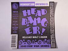 Beer Label ~ Midnight Sun Brewing Co Head Banger Belgian Malt Liquor 2010 POP 10