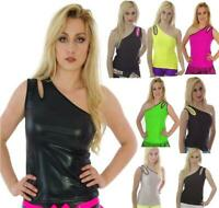NEON ONE SHOULDER TOP 80'S FANCY DRESS ALTERNATIVE CYBER TUTU PEEPHOLE STRETCHY