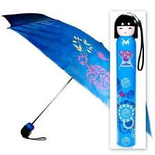 KOKESHI DOLL UMBRELLA Blue Folding w Hard Case Geisha Girl Japanese Lady China