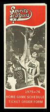 1975-76 ST. LOUIS SPIRITS SCHEDULE TICKET ORDER FORM~GUS GERARD, JIM EAKINS~ABA