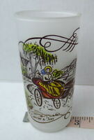 Carriage Ride in the Country Currier & Ives Frosted Glass Tumbler Mid Century