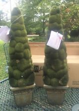 """Home Interiors Artificial 20"""" Moss Topiary 2 Indoor Outdoor Home Office  New"""