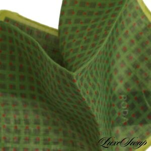 NWT Roda Made in Italy 100% Linen Lime Gauze Red Shadow Cube Spot Pocket Square