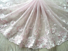 "1Y~7.5""~Venice Lace Trim Spitzenrand Dentelle Embroidered Rose Flower Wedding"
