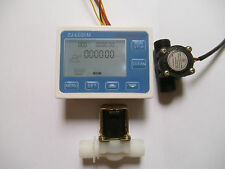 "NEW G1/2"" Water Flow Control LCD Display+Solenoid  +Flow Sensor Meter"