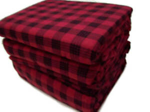 Cuddl Duds Heavyweight Cotton Red Buffalo Check Plaid Flannel Queen Sheet Set