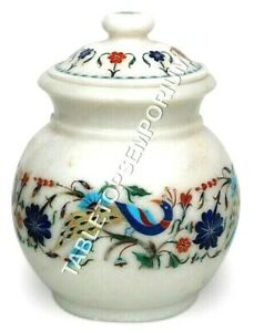 "6"" Marble White Flower Vase Peacock Inlay Semi Precious Floral Art Handmade Gift"