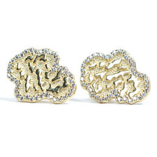 Yellow Gold 925 Sterling Silver Hip Hop Nugget Cz Iced Small Men Stud Earrings