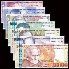Armenia set 7 PCS, 50 100 500 1000 5000 10000 20000 Dram, P-41-44, 55-58, UNC