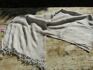 Monsoon Grey & Silver Sequin Covered Tasselled Trim Scarf