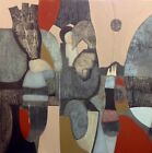 Bold Mixed Media Original Abstract Cubist Painting on Canvas