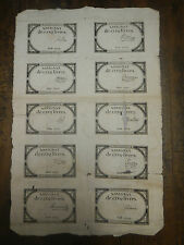 1793 - 1794 COLONIAL FRENCH REVOLUTION FULL UNCUT SHEET 10 ASSIGNATS OF 5 LIVRES