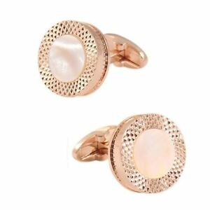 Round Rose Gold Cufflinks Shirt Sleeve White Marble Mother of Pearl Button UK