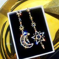 925 Silber Ohrringe asymmetrische Ohrringe Stern Ohrring Edelstein baumeln flYfE