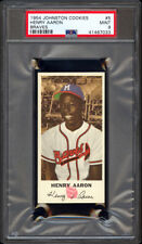 1954 Johnson Cookies #5 Hank Aaron Rookie Card PSA 9 Razor Sharp Cello Fresh Gem