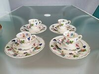 VINTAGE MARLBOROUGH GRINDLEY CAMBRIA SET OF 4 TRIOS DEMITASSE TEA CUP AND SAUCER