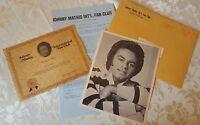 Johnny Mathis International Fan Club Letter Headshot Photo Award 1978 Lot